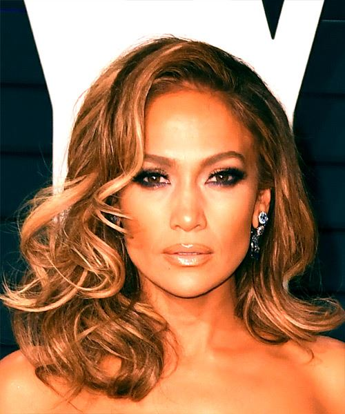 Jennifer Lopez Long Wavy Layered   Brunette and Copper Two-Tone Bob  Haircut with Side Swept Bangs  and  Blonde Highlights