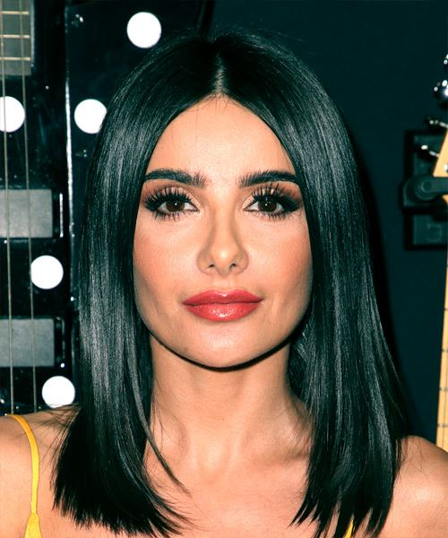 Mikaela Hoover Medium Straight Formal  Bob  Hairstyle   - Black  Hair Color