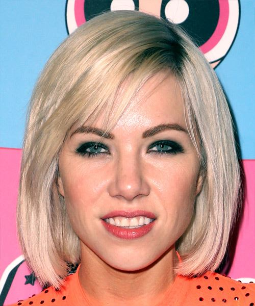 Carly Rae Jepsen Medium Straight Casual  Bob  Hairstyle with Blunt Cut Bangs  - Platinum and  Blonde Two-Tone Hair Color