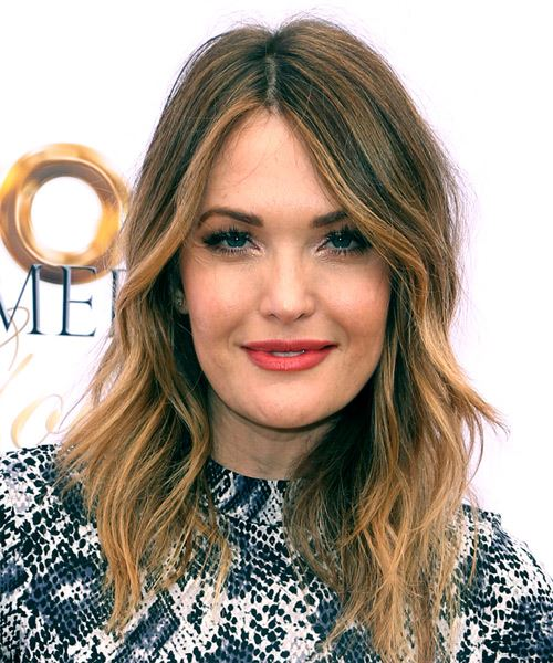 Amy Purdy Long Wavy Casual    Hairstyle with Layered Bangs  - Dark Brunette Hair Color with Dark Blonde Highlights