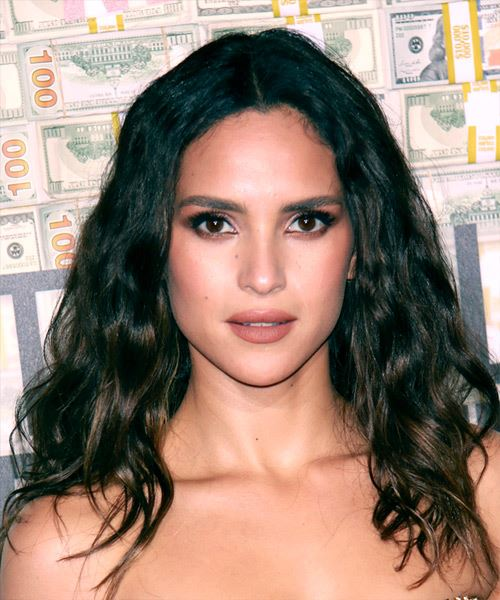 Adria Arjona Long Wavy   Black    Hairstyle with Layered Bangs  and Dark Brunette Highlights