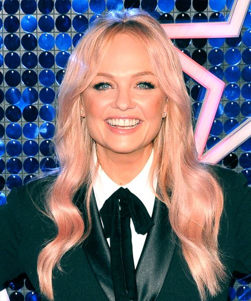 Emma Bunton Long Wavy Casual    Hairstyle with Layered Bangs  - Pink  Hair Color