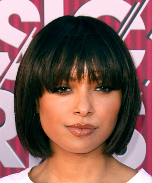 Kat Graham Short Straight Formal  Bob  Hairstyle with Blunt Cut Bangs  - Black  Hair Color
