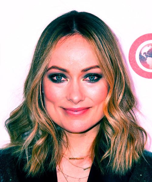 Olivia Wilde Medium Wavy Casual    Hairstyle   -  Blonde Hair Color with Light Blonde Highlights
