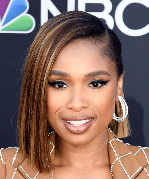Jennifer Hudson Medium Straight Formal  Bob Half Up Hairstyle with Blunt Cut Bangs  - Black  Hair Color with  Blonde Highlights