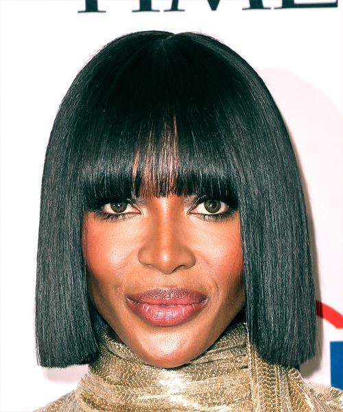 Naomi Campbell Medium Straight Formal  Bob  Hairstyle with Blunt Cut Bangs  - Black  Hair Color