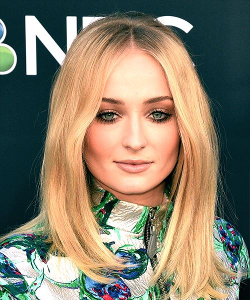 Sophie Turner Long Straight Formal    Hairstyle with Side Swept Bangs  -  Blonde Hair Color