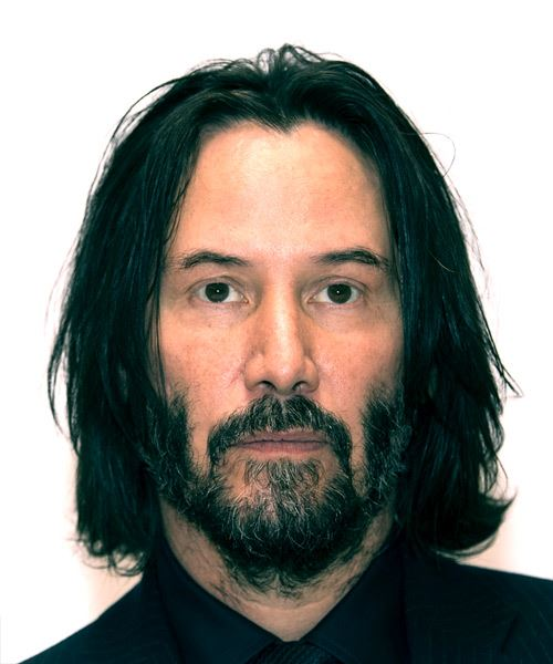 Keanu Reeves Medium Straight Casual    Hairstyle   - Black  Hair Color