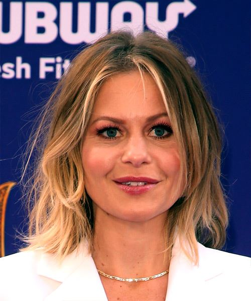 Candace Cameron Medium Wavy    Brunette Bob  Haircut with Layered Bangs  and Light Blonde Highlights
