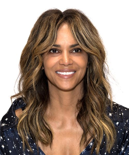 Halle Berry Long Wavy Casual    Hairstyle   - Dark Brunette Hair Color with Dark Blonde Highlights