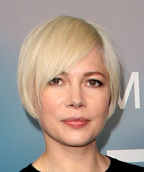 Michelle Williams Short Straight Casual  Pixie  Hairstyle with Blunt Cut Bangs  - Light Blonde Hair Color