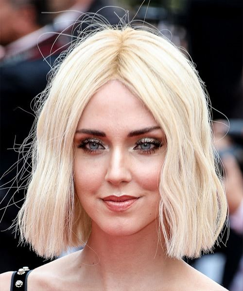 Chiara Ferragni Medium Straight Casual  Bob  Hairstyle with Blunt Cut Bangs  - Light Blonde Hair Color