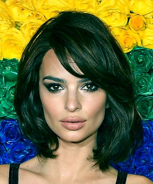 Emily Ratajkowski Medium Wavy Casual  Bob  Hairstyle with Side Swept Bangs  - Dark Brunette Hair Color
