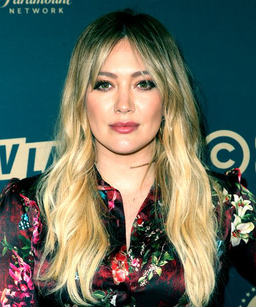 Hilary Duff Long Wavy    Brunette and Light Blonde Two-Tone   Hairstyle