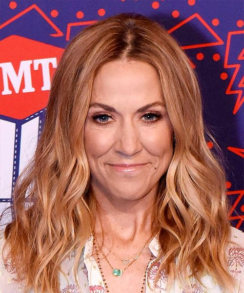Sheryl Crow Long Wavy Casual    Hairstyle   -  Red Hair Color