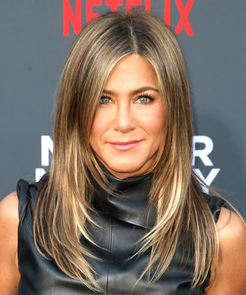 Jennifer Aniston Long Straight    Brunette   Hairstyle with Side Swept Bangs  and Light Blonde Highlights
