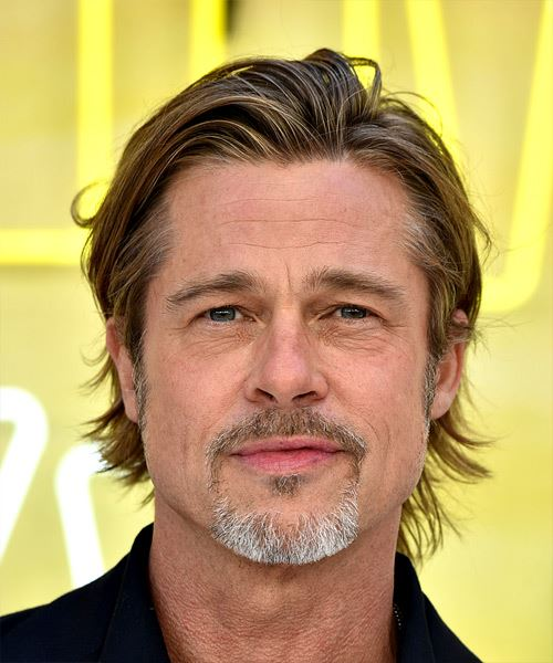 Brad Pitt Short Straight    Copper Brunette   Hairstyle with Layered Bangs