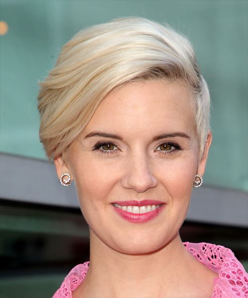Maggie Grace     Light Grey Pixie  Cut with Side Swept Bangs