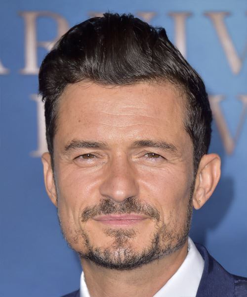 Orlando Bloom Short Straight   Black    Hairstyle with Blunt Cut Bangs