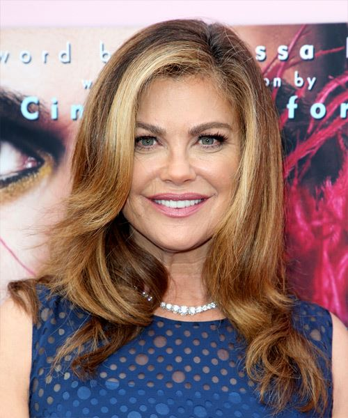 Kathy Ireland Long Wavy   Light Brunette   Hairstyle with Side Swept Bangs  and  Blonde Highlights