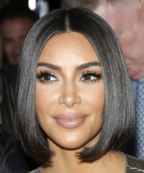 Kim Kardashian Short Straight   Black  Bob  Haircut with Blunt Cut Bangs
