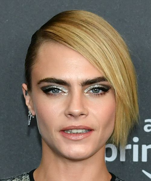 Cara Delevingne Short Straight    Blonde Asymmetrical Updo  with Blunt Cut Bangs  and Light Brunette Highlights