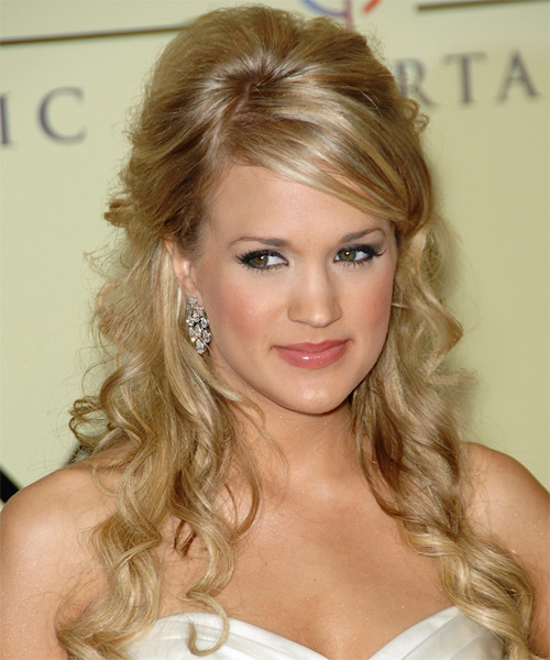 Carrie Underwood Long Curly Formal  Half Up Hairstyle