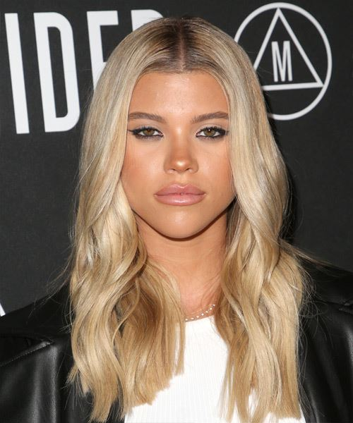Sofia Richie Long Straight   Light Blonde   Hairstyle with Side Swept Bangs  and  Blonde Highlights