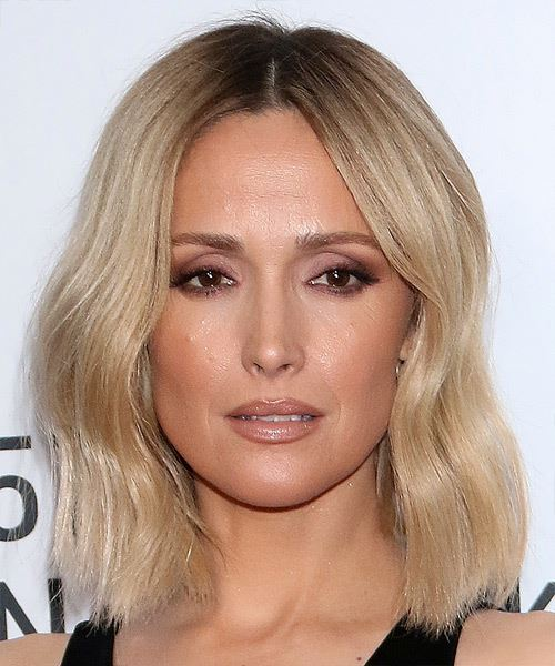 Rose Byrne Medium Straight    Blonde and Dark Brunette Two-Tone Bob  Haircut