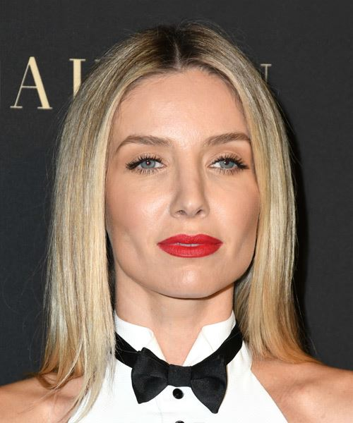 Annabelle Wallis Medium Straight   Light Blonde Bob  Haircut   with  Blonde Highlights