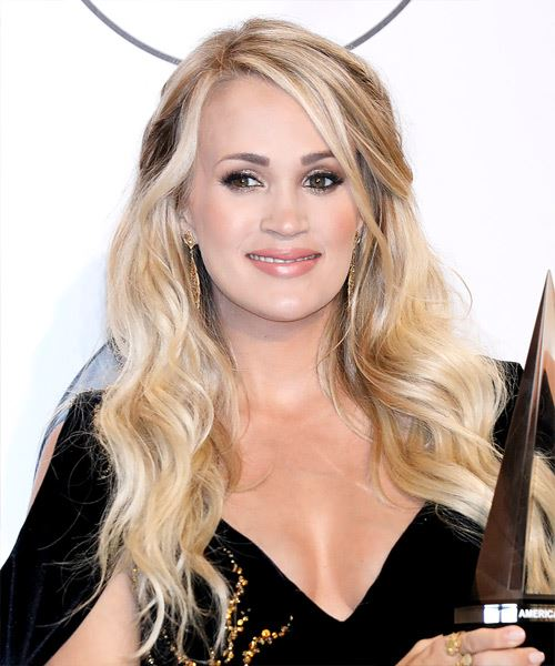 Carrie Underwood Long Wavy    Blonde   Hairstyle with Side Swept Bangs  and Light Blonde Highlights