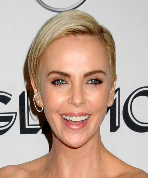 Charlize Theron      Blonde Pixie  Cut with Side Swept Bangs