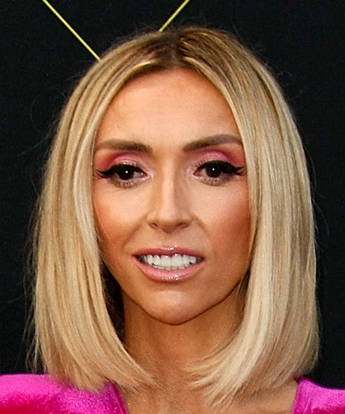 Giuliana Rancic Medium Straight    Blonde Bob  Haircut with Blunt Cut Bangs  and Light Blonde Highlights