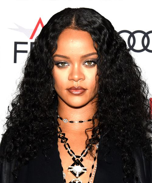 Rihanna Long Curly   Black    Hairstyle with Layered Bangs