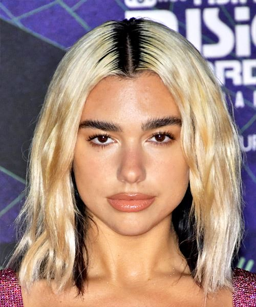 Dua Lipa Medium Wavy   Black  and Light Blonde Two-Tone   Hairstyle with Blunt Cut Bangs