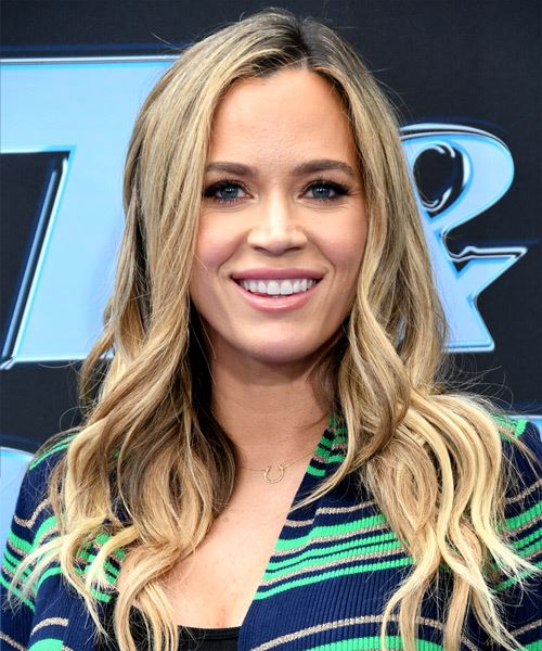 Teddi Mellencamp Long Wavy   Light Brunette   Hairstyle with Side Swept Bangs  and Light Blonde Highlights