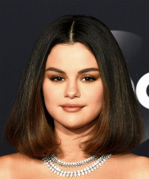 Selena Gomez Medium Straight   Dark Copper Brunette Bob  Haircut with Blunt Cut Bangs