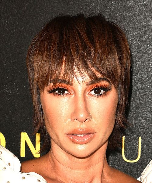 Jackie Cruz Short Straight   Dark Chocolate Brunette Bob  Haircut with Blunt Cut Bangs