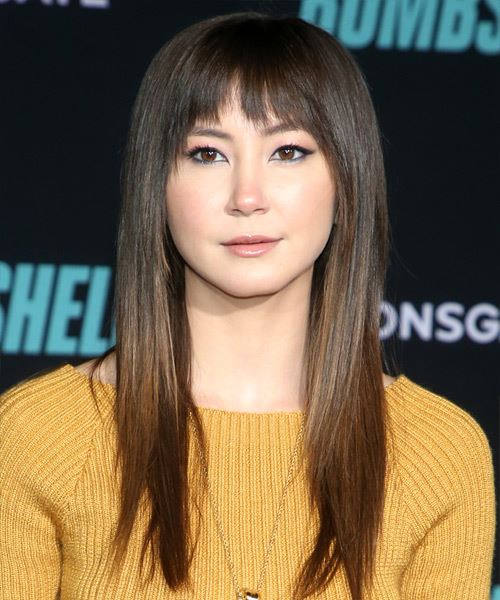 Kimiko Glenn Long Straight   Black    Hairstyle with Blunt Cut Bangs