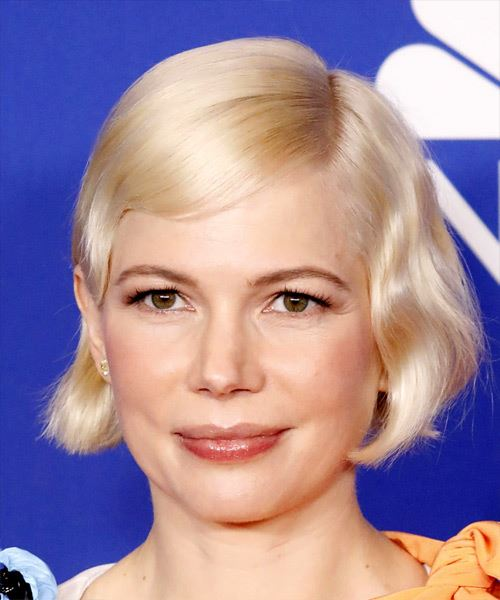 Michelle Williams     Light Golden Grey Pixie  Cut with Side Swept Bangs