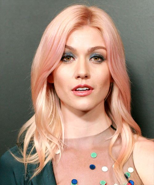 Katherine McNamara Long Straight   Pink    Hairstyle with Layered Bangs  and Light Blonde Highlights