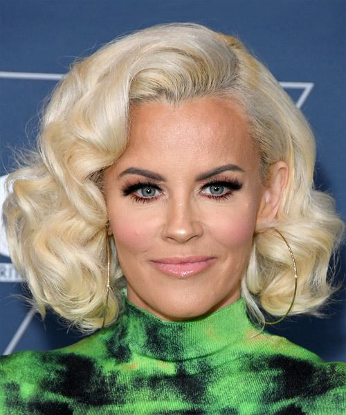 Jenny McCarthy Medium Wavy   Light Platinum Blonde Bob  Haircut with Side Swept Bangs