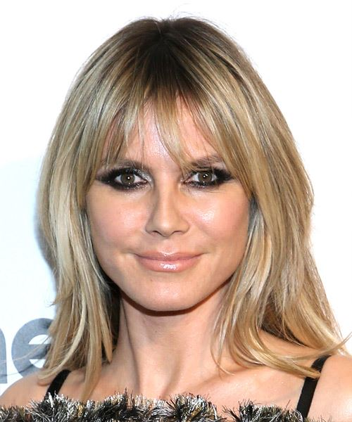 Heidi Klum Long Straight    Caramel Blonde   Hairstyle with Blunt Cut Bangs
