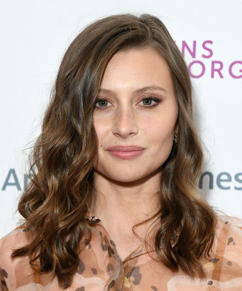 Alyson Michalka Long Wavy   Dark Copper Brunette   Hairstyle with Side Swept Bangs
