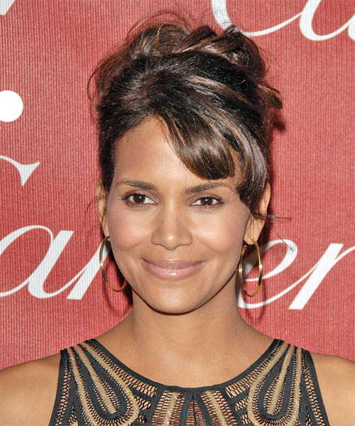 Halle Berry Updo Long Curly Formal Wedding Updo Hairstyle with Side Swept Bangs