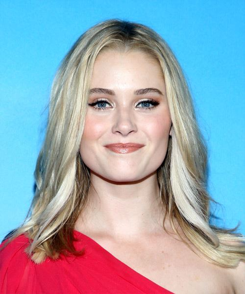 Virginia Gardner Long Straight   Light Blonde and Light Brunette Two-Tone   Hairstyle with Layered Bangs