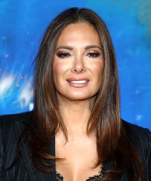 Alex Meneses Long Straight   Black Copper    Hairstyle with Layered Bangs