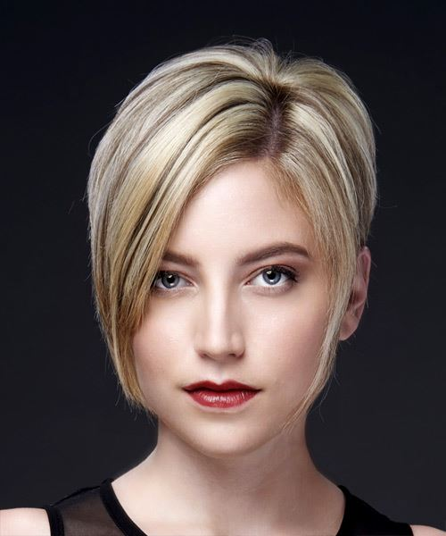 Light Blonde Pixie  Cut with Side Swept Bangs  and Light Brunette Highlights