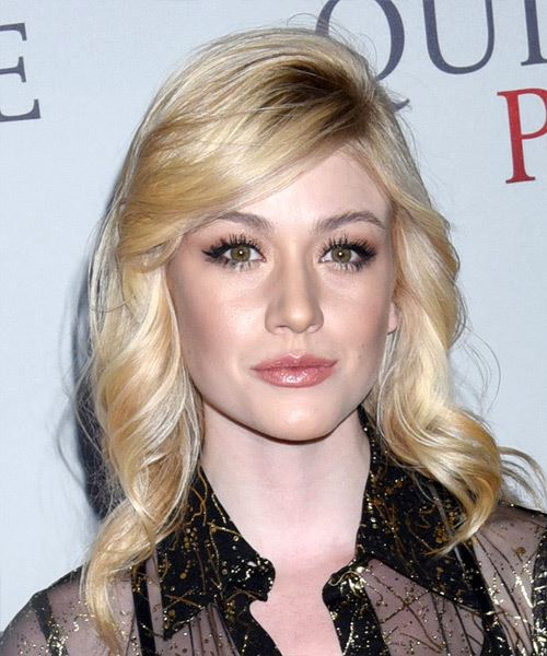 Katherine McNamara Long Wavy    Blonde   Hairstyle with Side Swept Bangs  and Light Blonde Highlights