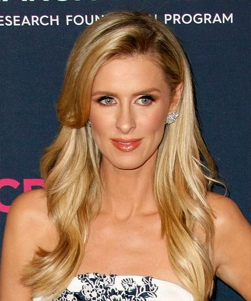 Nicky Hilton Long Straight    Blonde   Hairstyle with Side Swept Bangs  and Light Blonde Highlights